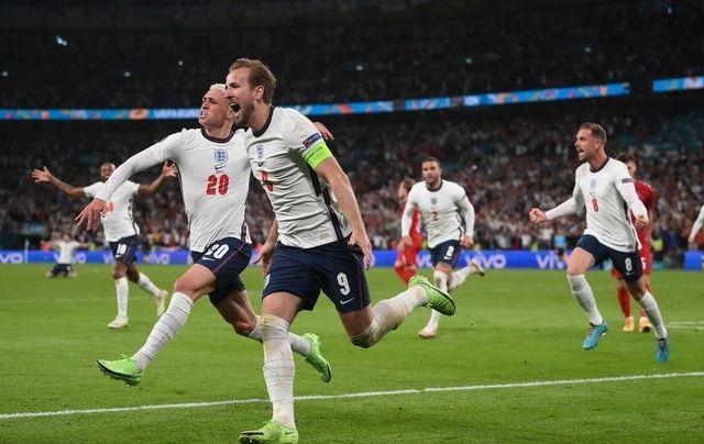 England captain Harry Kane celebrates after scoring the winner against Denmark in the Euro 2020 semi-final.
