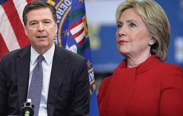 Former FBI director James Comey and former US Secretary of State Hillary Clinton.