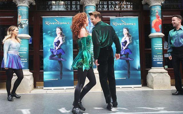 Irish dance takes to the streets of Dublin as Riverdance pros preform outside the Gaeity in a Riverdancathon!