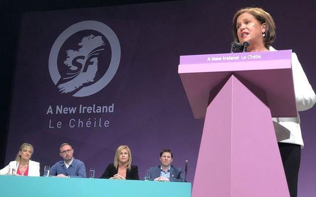 Mary Lou McDonald addresses the Sinn Fein ard fheis in Belfast on Saturday.