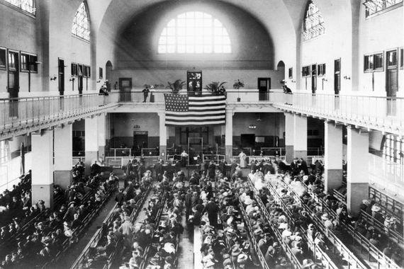 Immigrants at Ellis Island circa 1880.