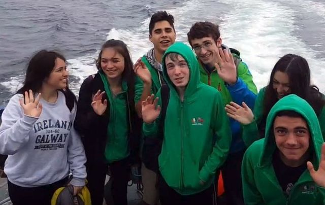 US high school students having a blast at the Celtic Irish American Academy, in Galway.