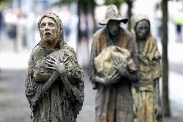 The Famine Memorial on the banks of the Liffey in Dublin.