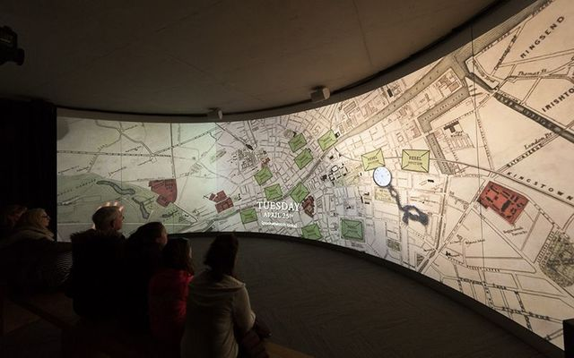 Interactive digital displays at the GPO Witness History museum, on O\'Connell Street.