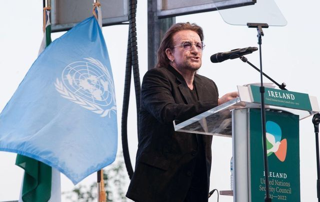 Bono speaking at Ireland\'s launch of its bid for the UN Security Council.