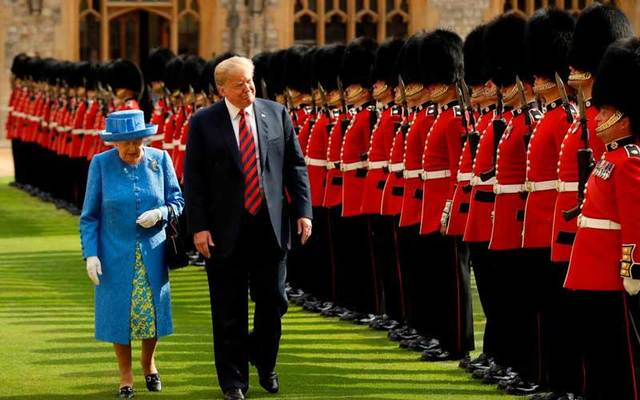 Queen Elizabeth II and US President Donald Trump at Windsor Castle On July 13, 2018.
