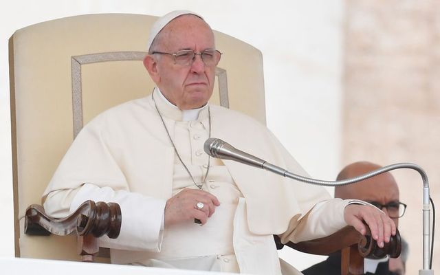 Pope Francis gives a weekly general audience at St Peter\'s Square on May 9, 2018, in the Vatican.