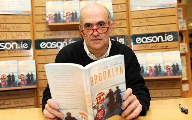 """Irish writer Colm Tóibín at a book signing in Easons O\'Connell Street Dublin for his new novel \""""Brooklyn.\"""""""