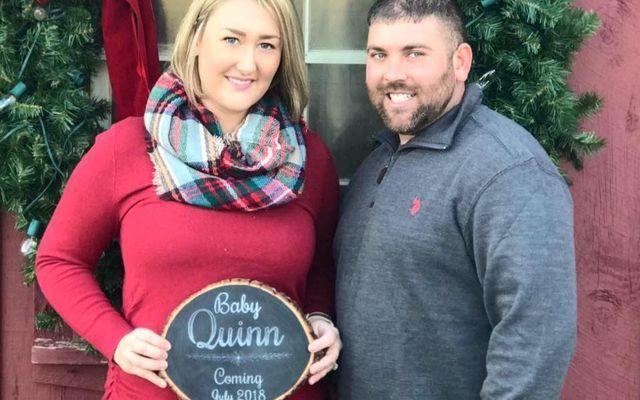 Kevin Quinn and his wife Kara announcing their pregnancy.