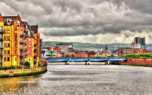 Belfast City on the River Lagan.