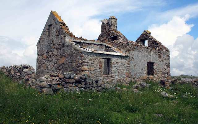 Ruined farm on Omey Island in Ireland.\n\n