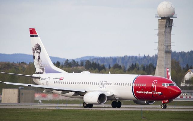 Picture taken on May 2, 2014, shows a Boeing 737-33S operated by Norwegian Air Shuttle on the tarmac at the Oslo Airport Gardemoen.