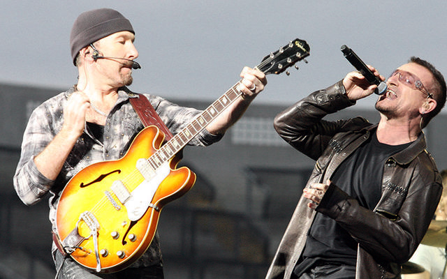 The Edge, aka David Evans, and Bono performing with U2 since 1976!