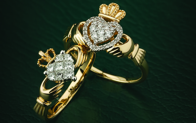 "Weir & Sons, on Grafton Street, Dublin, present ""The Irish Jewellery Exhibition"", with something for everyone, even diamond encrusted Claddagh rings."