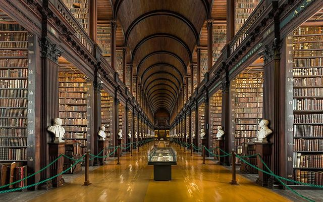 The Long Room, in Trinity College Dublin: The Book of Kells is on permanent display.