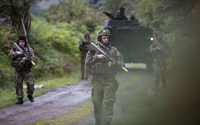 Members of the Irish Defense Forces in training.