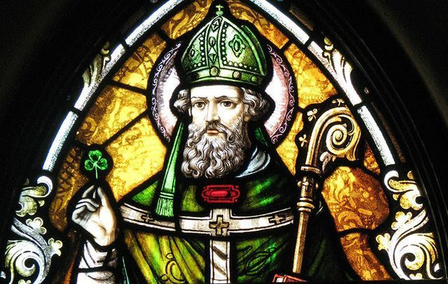 Stained-glass image of Saint Patrick.
