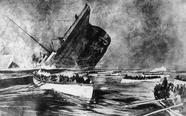 An illustration of the Titanic sinking as lucky survivors escape in a lifeboat.