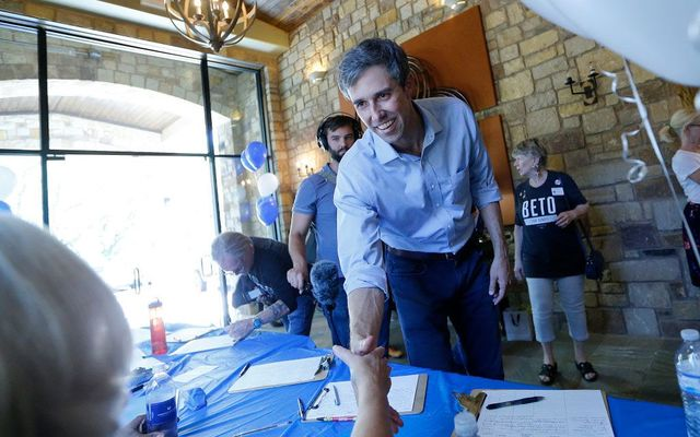 U.S. Rep Beto O\'Rourke (D-TX) of El Paso greets a supporter before a town hall meeting at the Quail Point Lodge on August 16, 2018, in Horseshoe Bay, Texas. ORourke will be challenging incumbent Sen. Ted Cruz (R-TX) for the Senate seat in the November elections.