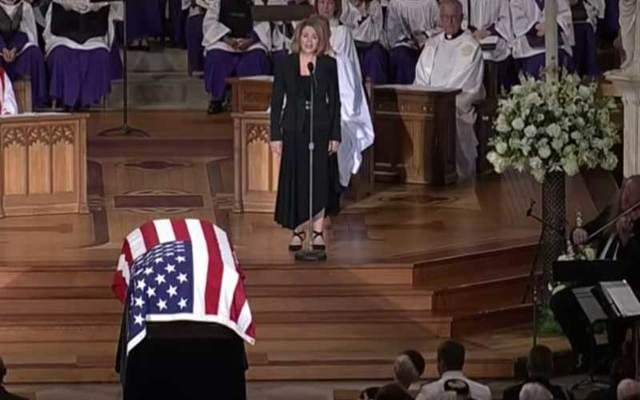 """Renee Fleming sings \""""Danny Boy\"""" at John McCain\'s funeral."""