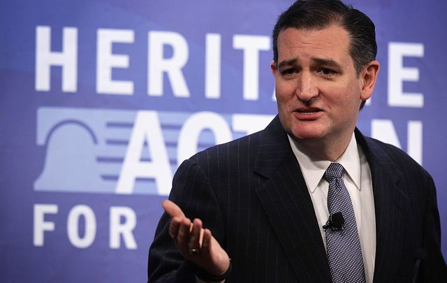 U.S. Sen. Ted Cruz (R-TX) addresses the second annual Conservative Policy Summit at the Heritage Foundation January 12, 2015, in Washington, DC.