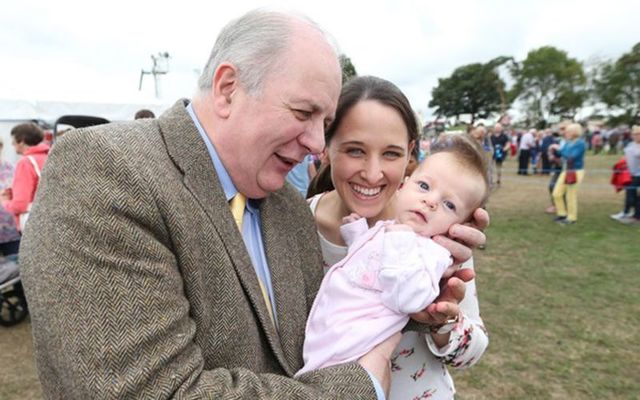 Presidential hopeful Gavin Duffy with Sophie McMahon 6weeks old and her mum from Gort Co Galway at the Tullamore Show in County Offaly.