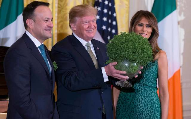 Irish Taoiseach Leo Varadkar presenting the St Patrick\'s Day shamrock to President Donald Trump and First Lady Melania Trump.