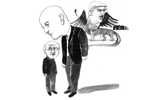 The Dragon\'s are coming... Michael D Higgins, Sean Gallagher and Donald J Trump.