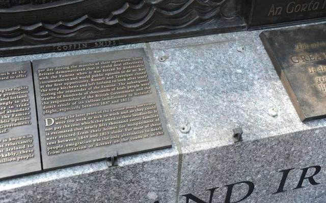 The vandalized The Rhode Island Irish Famine Memorial.