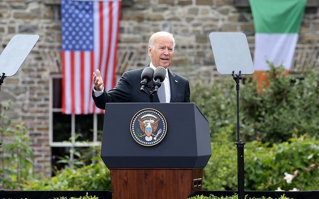 Former vice president Joe Biden, speaking at Dublin Castle during a trip to Ireland.