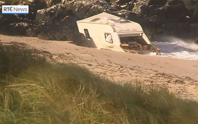 Storm Ali: High winds blew the caravan a women in her 50s was sleeping in onto Acton\'s beach, near Clifden, County Galway.