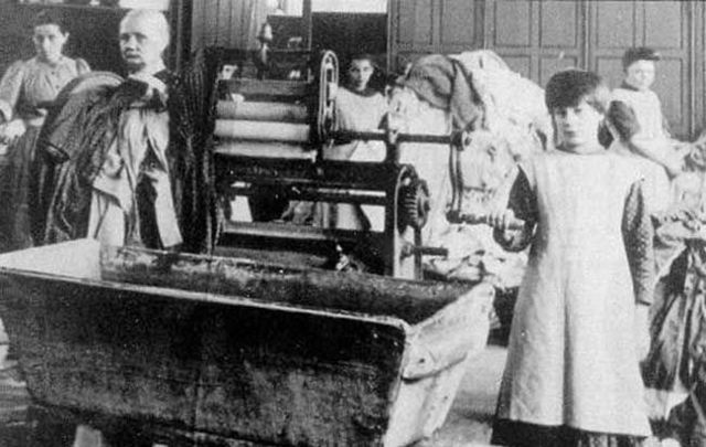 Children working in a Magdalene Laundry in Ireland.
