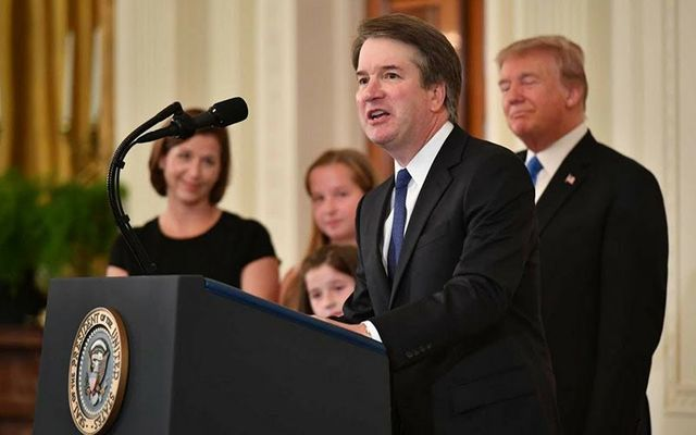Supreme Court nominee Brett Kavanaugh photographed with President Donald Trump during his acceptance speech.