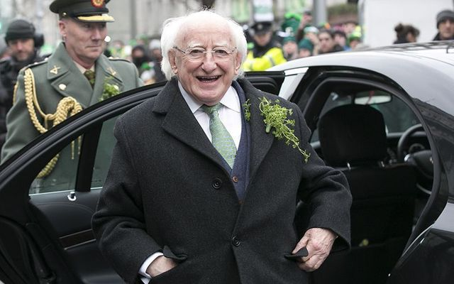 Michael D Higgins photographed on St. Patrick\'s Day, in Dublin, in 2018.