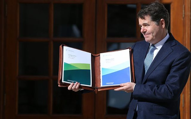 Finance Minister Paschal Donohoe with the Irish budget on Tuesday.