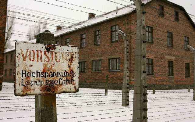 An Irishman has been arrested for defacing a wall at the Auschwitz museum
