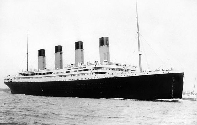 The Titanic on its maiden voyage.