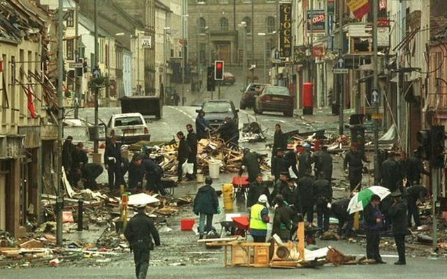 Aftermath of the Omagh bombings in County Tyrone, in 1998.