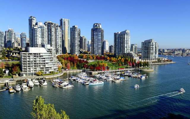 Autumn landscape of false creek in Vancouver downtown, BC, Canada.