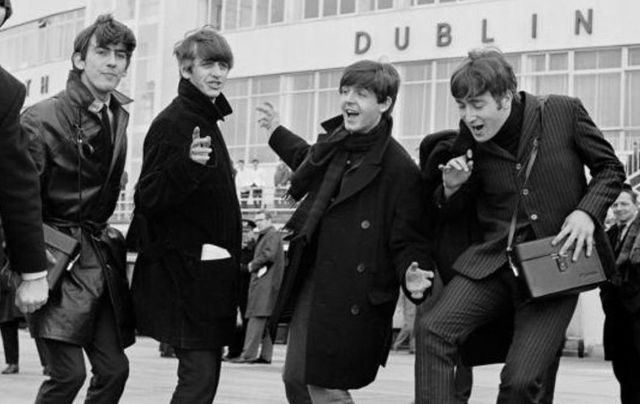 The Beatles arrive at Dublin airport in 1963.
