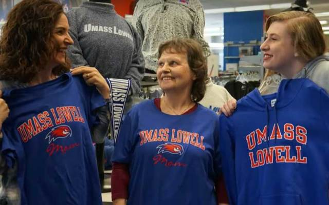 Deirdre Hutchinson, her mother, Mary Humble, and daughter, Georgina Hutchinson, all attend UMass Lowell.\n