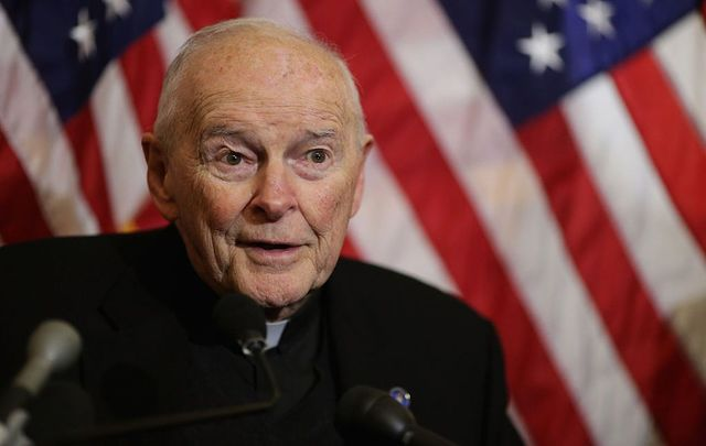 Cardinal Theodore McCarrick, archbishop emeritus of Washington, speaks during a news conference with senators and national religious leaders to respond to attempts at vilifying refugees and to call on lawmakers to engage in policymaking and not \'fear-mongering\' at the U.S. Capitol December 8, 2015, in Washington, DC.