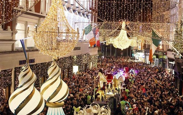 The Parade of Lights on Grafton Street, in Dublin, at Christmas.
