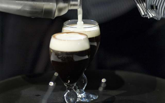 Marcin Michalik from Poland concentrates as he is in the process of making Irish coffee at the World Barista Coffee Championships in Copenhagen on June 19, 2008.