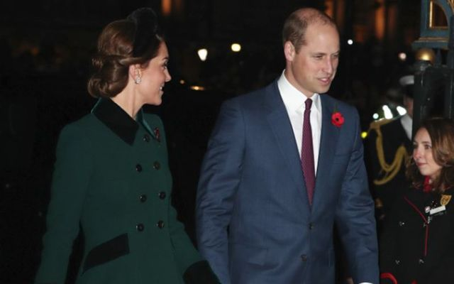 Prince William and Kate attending the remembrance service for Armistice Day, at Westminster, London.