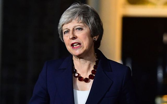 British Prime Minister Theresa May announces Brexit deal outside 10 Downing Street, London.