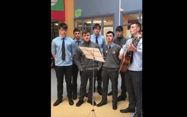Naas CBS 6th year students perform a choral rendition of 'The Green Fields of France' to commemorate 100 years since the end of WWI.
