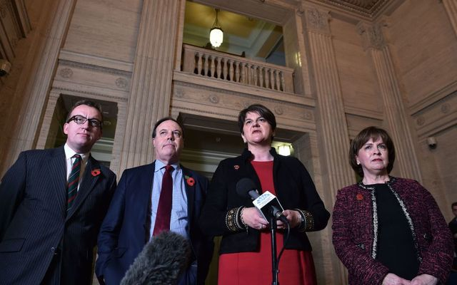DUP leader Arlene Foster and deputy leader Nigel Dodds address the media at Stormont alongside party members Christopher Stalford and Diane Dodds following talks with the UK Brexit secretary Dominic Raab on November 2, 2018, in Belfast, Northern Ireland.