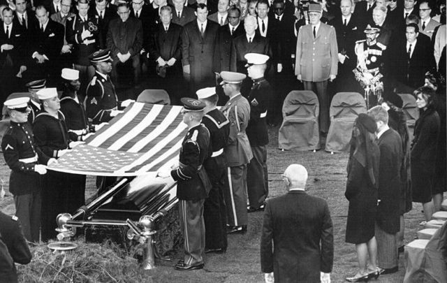 An honor guard at the casket of President Kennedy on November 25, 1963 in Arlington National Cemetery.