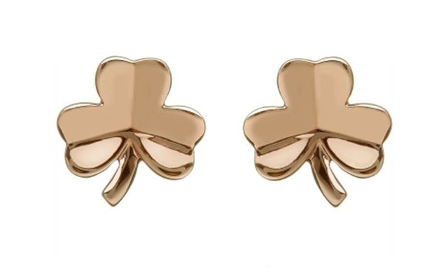 Rose gold shamrock earrings from Weir and Sons.